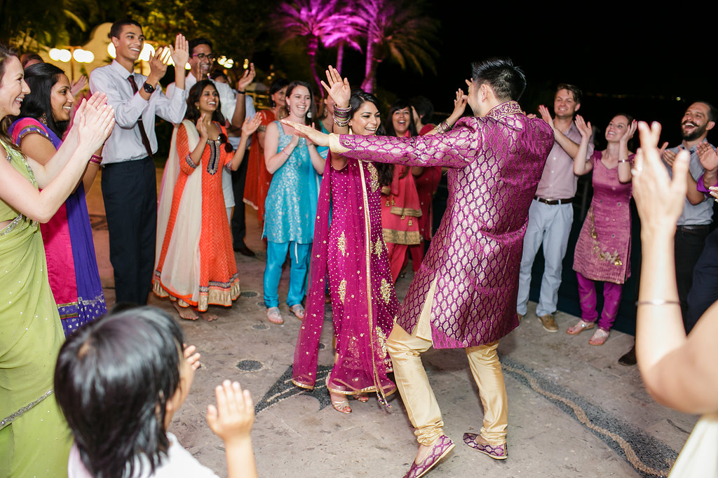 The bride and groom celebrated their relationship in traditional garments on the dance floor at this Puerto Vallarta Mexico destination wedding