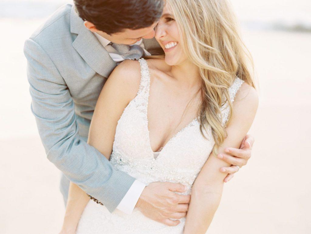 Bride and groom in romantic moment at destination wedding in Puerto Vallarta Mexico.