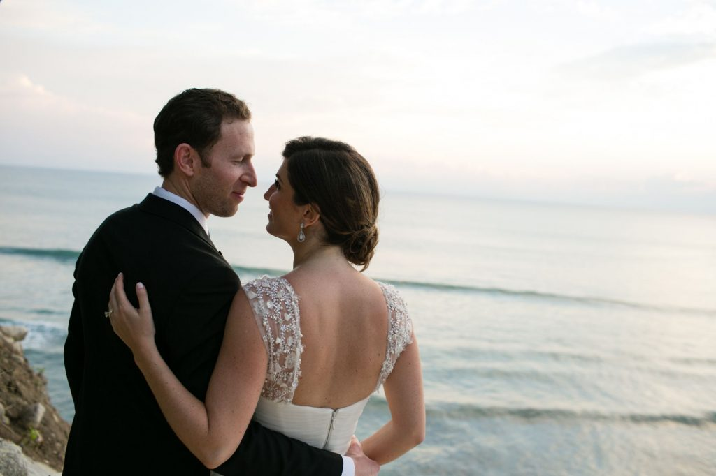 Bride and groom after their wedding ceremony in Punta Mita Mexico